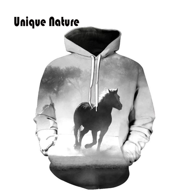 4aed7845cf82 Unique Nature Horse Hoodies Mens Outwear 3D Print Tracksuits Long Sleeve  Jackets Art Painting Hoody Plus Size 5XL