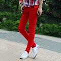 2016 New Designers Mens Red Colour Slim Fit Stretch Pencil Jeans Famous Brand Skinny Biker Jean Pants Fashion Korean Clothing