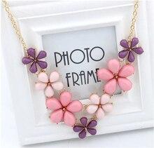 Мода 2 Цветов Кристалл Конфеты Синий и Розовый Цветок Подвески Колье Себе Колье Ожерелье Для Женщин Бесплатная Доставка 661