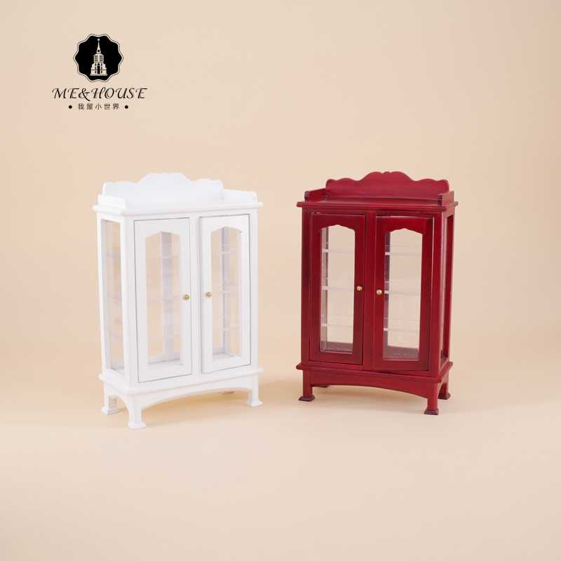 1/12 Dollhouse Furniture Display Miniature Modern Burlywood/white Wooden Cabinet 1:12 Miniatura