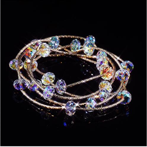 High quality S925 pure silver plated rose gold colorful multi layer crystal bracelet lady Austrian crystal holiday gift
