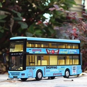 цена на 1:36 alloy pull back bus model high imitation Double sightseeing bus Hongkong bus flash toy vehicle kids toys free shipping