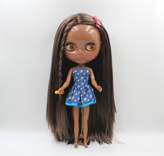 Blygirl Blyth doll Dark black nude doll dark brown straight hair common body 7 joints DIY doll new skin
