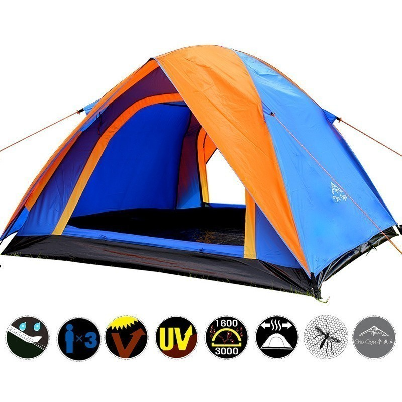 3 4 Person Double Layer Camping Tent 200x180x140cm With Outdoor Waterproof Awning Double Door Tent for