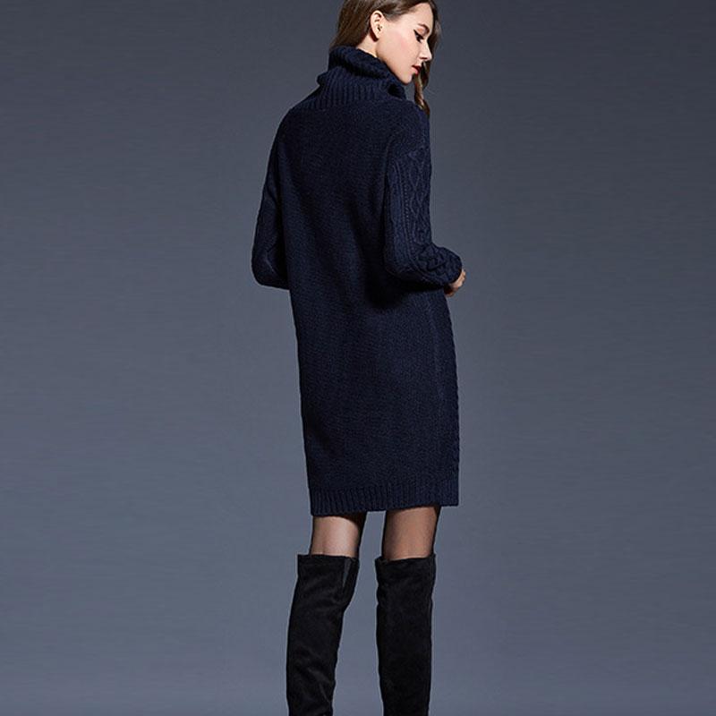 c837455d594 JYConline Winter Sweater Dress Turtleneck Pullover Knitted Dresses Women  Autumn Warm Dress Casual Long Sleeve Knitwear Sweater-in Dresses from  Women s ...
