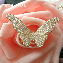 HIBRIDE Luxury Big Butterfly Adjustable Women Rings Micro CZ Stone Pave Gold-Color Female Ring For Party Gifts Jewelry R-146 blucome luxury aaa zircon copper ring clear cz micro pave gold color rings for women flower big long section finger ring wedding