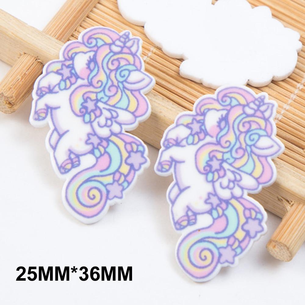 50pcs 25*36MM Kawaii Cartoon Flying Unicorn Flatback Resin Horse Planar Resin Cabochon DIY Crafts Scrapbooking Accessories FR198