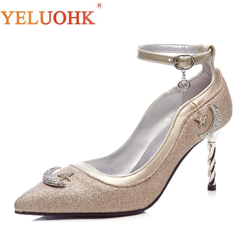 33-44 High Heels Big Size Pumps Women Shoes 8 CM Spring Shoes Women Heels Silver Lolita Shoes