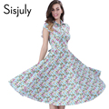 Sisjuly vintage dress women summer mini azul estampado floral de primavera estilo party dress flor retro pin up rockabilly vestidos de 1950 s