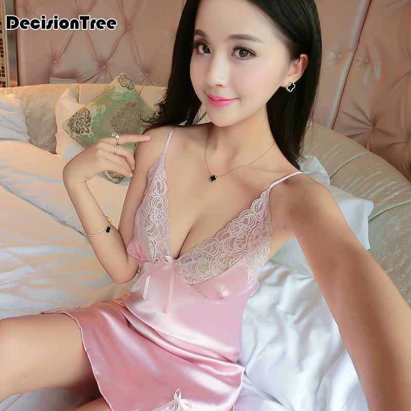 ea4203ba064 ... 2019 summer women's sexy bride lingerie lace side babydoll white  negligee pyjamas vintage nightgown silk nightdress ...