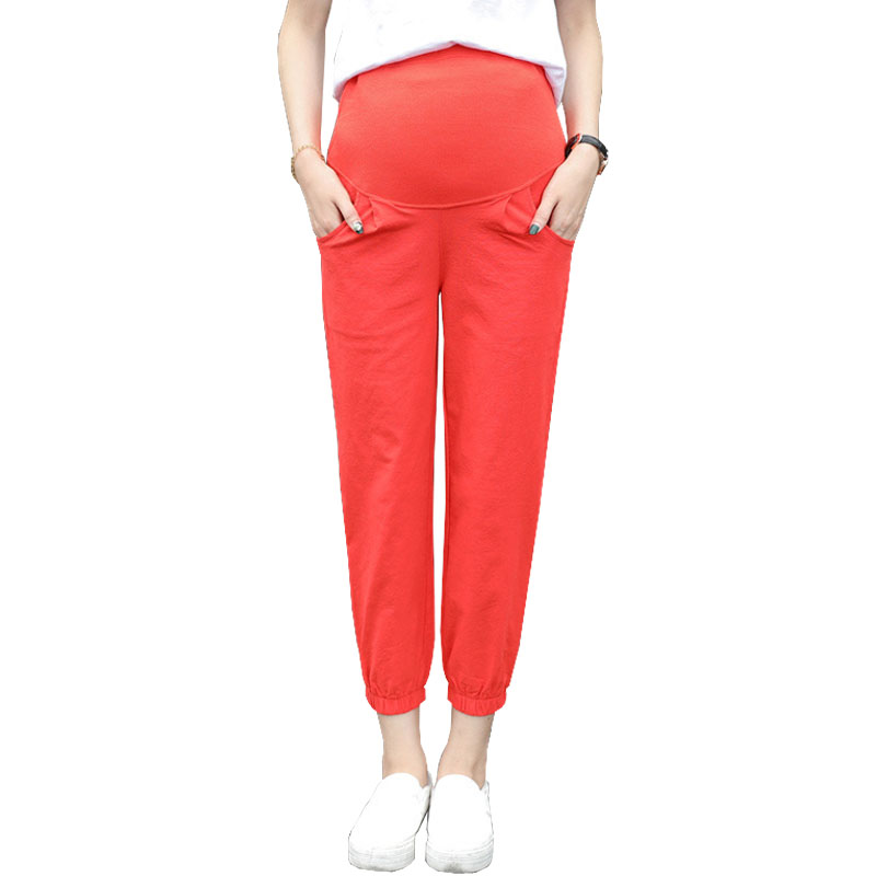 Ninth Pants Maternity Trousers For Pregnant Women Clothes High Waist Prop Belly Nursing Clothing Pregnancy Pants Gravidas