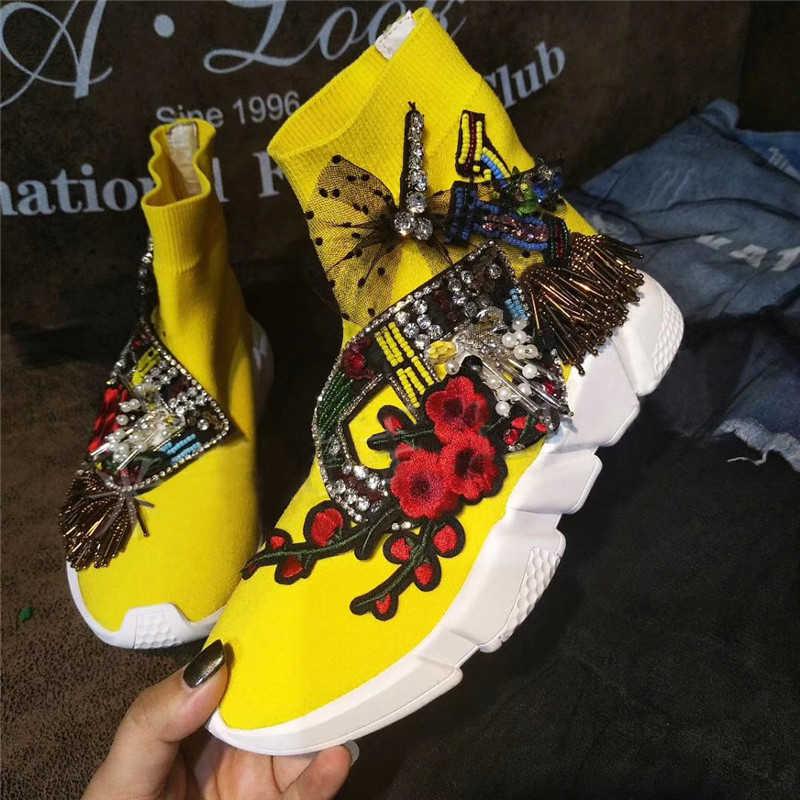 Yellow Crystal Sneaker Crystal Socks Sneaker Women Rhinestone Casual  Platform Shoes Knitted Socks Casual Fashion Sneakers db9aab52d100