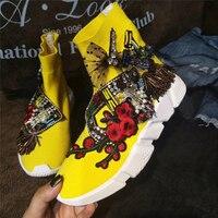 Желтый кристалл тапки кристалл Носки кроссовок Для женщин со стразами повседневная обувь на платформе вязаные носки Повседневное модные к