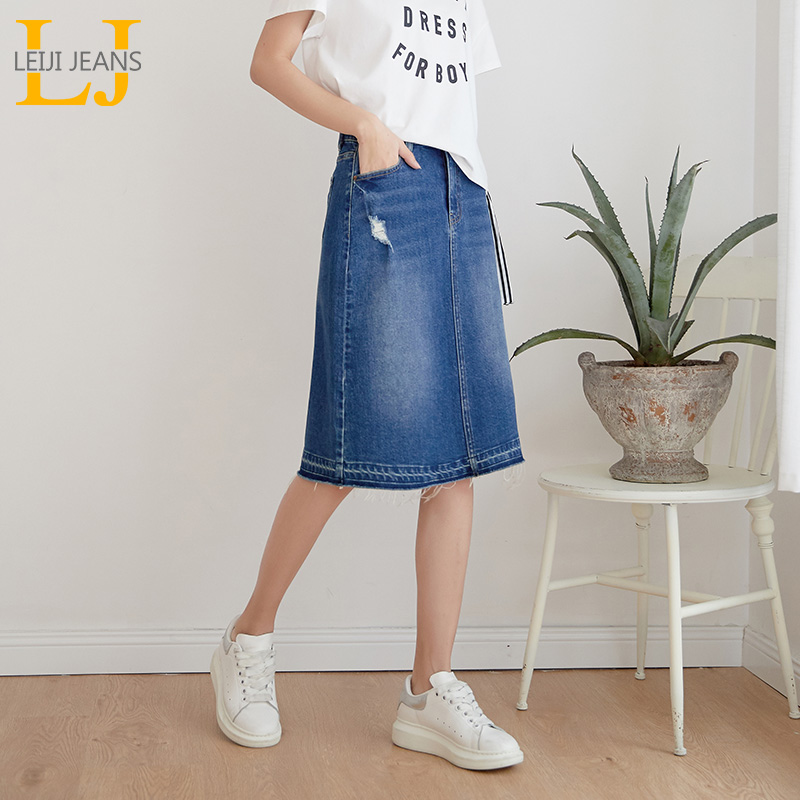 LEIJIJEANS New Arrival Plus Size denim skirts Fashion casual women washing skirts 4XL 5XL 6XL all seasons stretchy women skirts