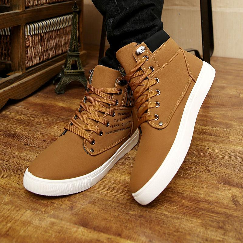 55bdd6bf46b ... botas de piel de cuero para hombre lona superiores ocasionales de los hombres  zapatos. 33 34 35 36 ...