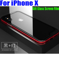 For IPhone X Case Original Luphie Luxury Aluminum Metal Frame 9H Glass Back Cover For IPhoneX