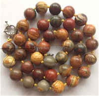 hot  new  Fashion Style diy Natural 10mm Multicolor Picasso chalcedony Round  Beads Necklace 18''   JT5183