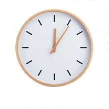 Modern Creaty 12 inch Round Beech Wood Soundless Wall Clock Living Room Furniture Decore Clock
