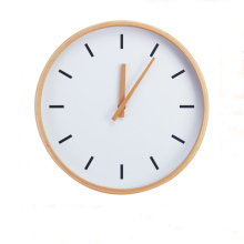 Modern Creaty 12 inch Round Beech Wood Soundless Wall Clock Living Room Furniture Decore Clock