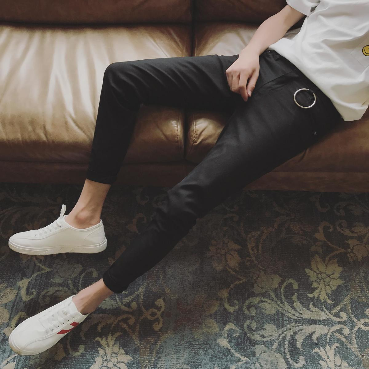2017 Latest Fashion Trend Youth Style Hong Wind New Big Ring Decorative Pants Men Stretch Body Slim Pants Pants