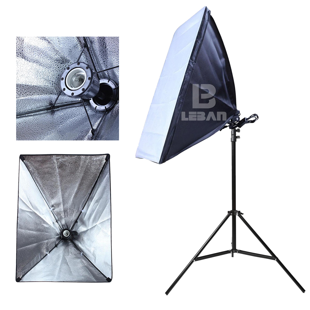 Photography Studio Continuous Lighting Folding 50x70cm Softbox E27 Lamp Holder 2m Light Stand Photo Soft Box