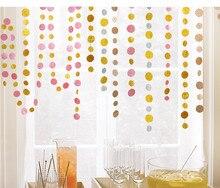 4M Glitter Powder Gold Film Happy Birthday Decoration Party Background Size Round Pull Flower String Flag
