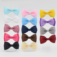 New 14 color High Quality 3 inch Grosgrain silk Ribbon Boutique Hair Bows With Clip Hairpins For Kids Girl Hair Accessories