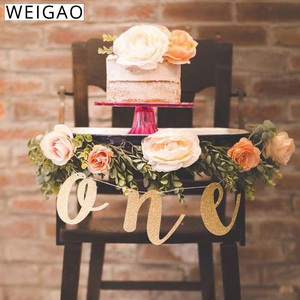 WEIGAO Glitter Gold 1st Birthday Highchair Banner for High Chair Sign Baby First Birthday One Banner Photo Prop Party Decoration