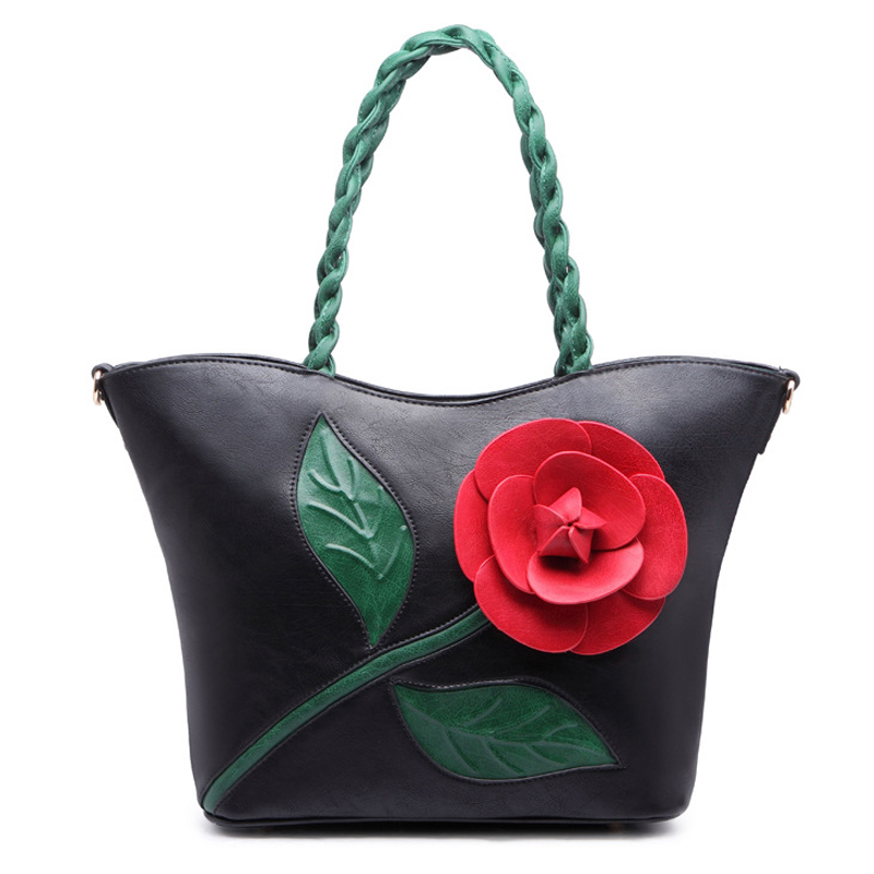 Famous brand handbags women shoulder bag Female Solid vintage roses design Tote Bag High quality PU leather bolsa feminina fashionable women s tote bag with cover and pu leather design