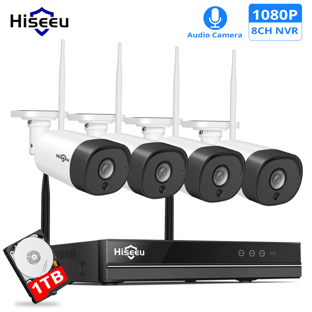 H.265 2MP 8CH Wireless Audio CCTV Security Outdoor IP Camera System NVR Kit 1080P 1T 3T HDD App View HiseeuH.265 2MP 8CH Wireless Audio CCTV Security Outdoor IP Camera System NVR Kit 1080P 1T 3T HDD App View Hiseeu