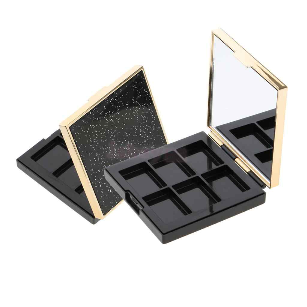 2pcs Cosmetic Empty Palette Make Up Box Lipstick Concealer Eyeshadow Powder Blush Makeup Case Organizer + Mirror NO PANS NEEDED