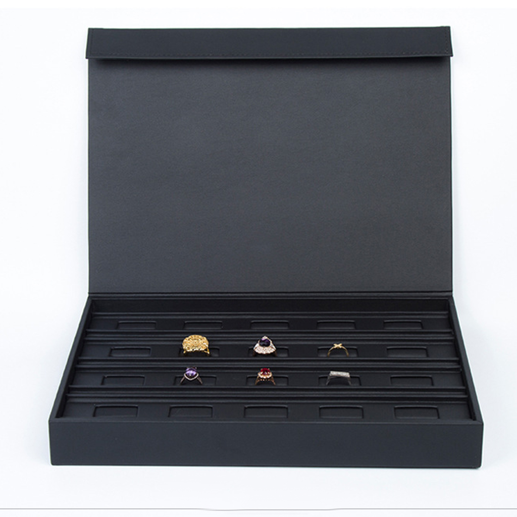 PU Leather Jewellery Display Storage Box Tray Ring Showcase Organiser Holder 34 x 25 x 4.5cm-in Jewelry Packaging & Display from Jewelry & Accessories    1
