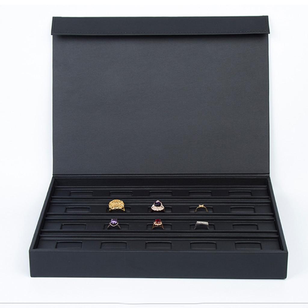PU skóra gablota jubilerska pudełko do przechowywania taca pierścień wizytówką organizator Holder 34x25x4.5 cm w Pakowanie i ekspozycja biżuterii od Biżuteria i akcesoria na  Grupa 1