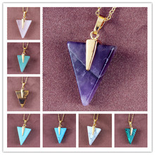 100-Unique 1 Pcs Light Yellow Gold Color Triangle Green Turquoises Stone Pendant Necklace Rose Pink Quartz Jewelry