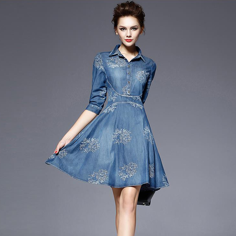 Popular Denim Dress Women Plus Size-Buy Cheap Denim Dress Women ...