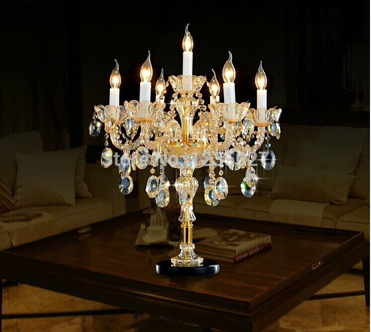 Free shipping italian wedding candle holders big candle table lamps large gradient candelabra crystal bedroom candle table light in table lamps from lights