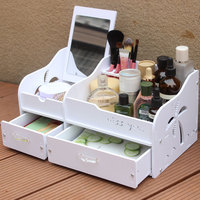Fashion Wood Plastic Board Cosmetic Box Drawer Desktop Storage Box Plastic Racks Cosmetic Storage Box With Mirror
