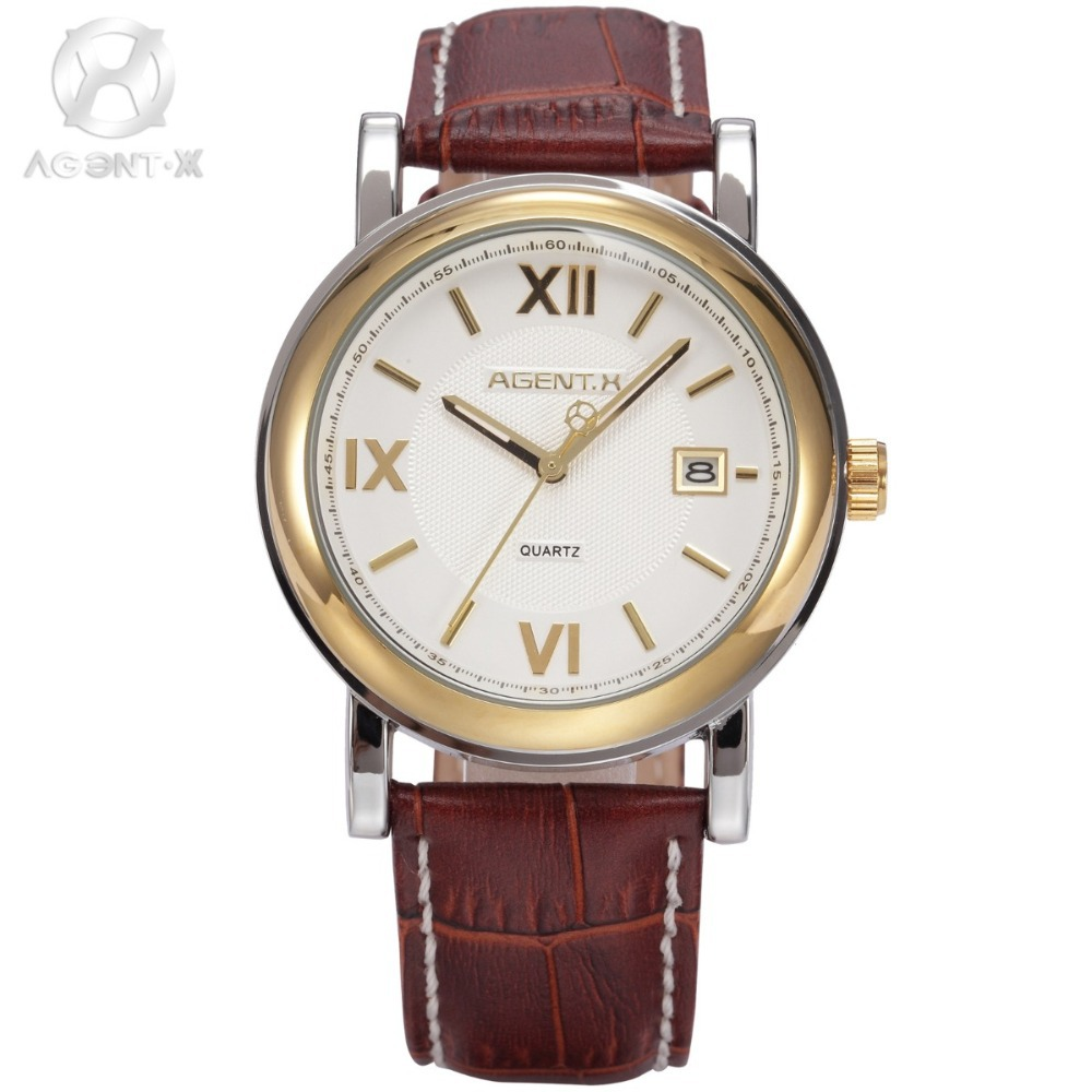 Le Fatal Charm AGENTX White Dial Brown Leather Strap Analog Date Stainless Steel Men Quartz Business Stylish Watch / AGX045 marlies moller luxury vitality витаминный шампунь luxury vitality витаминный шампунь