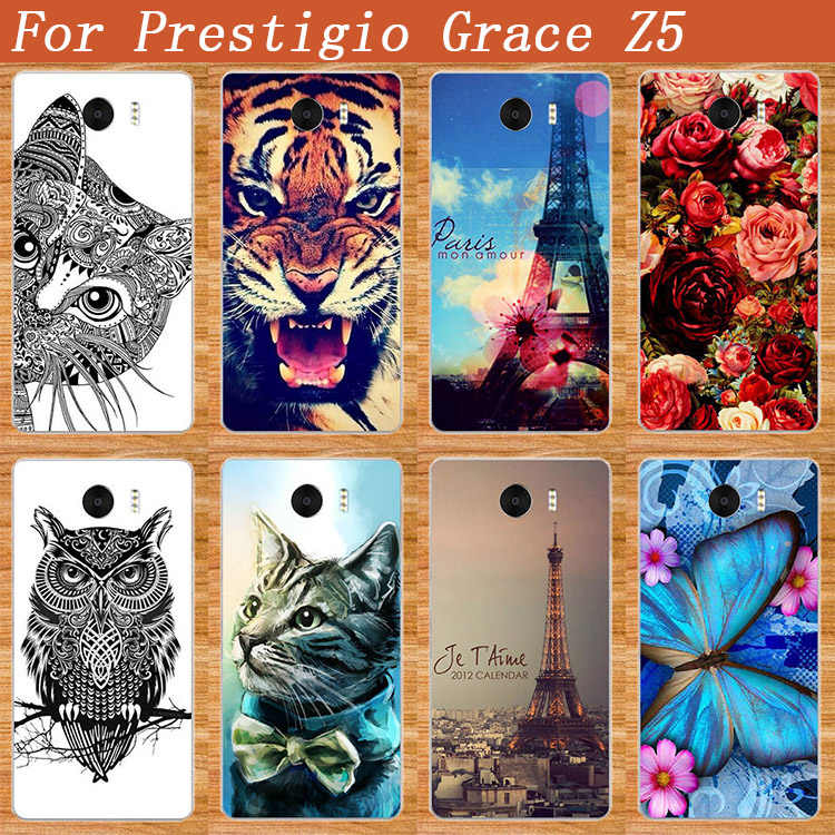 For Prestigio Grace Z5 Case DIY Painted Cat Lion Rose Flower SOFT TPU Silicone Cover For Prestigio Grace Z5 PSP5530DUO 5530 Duo