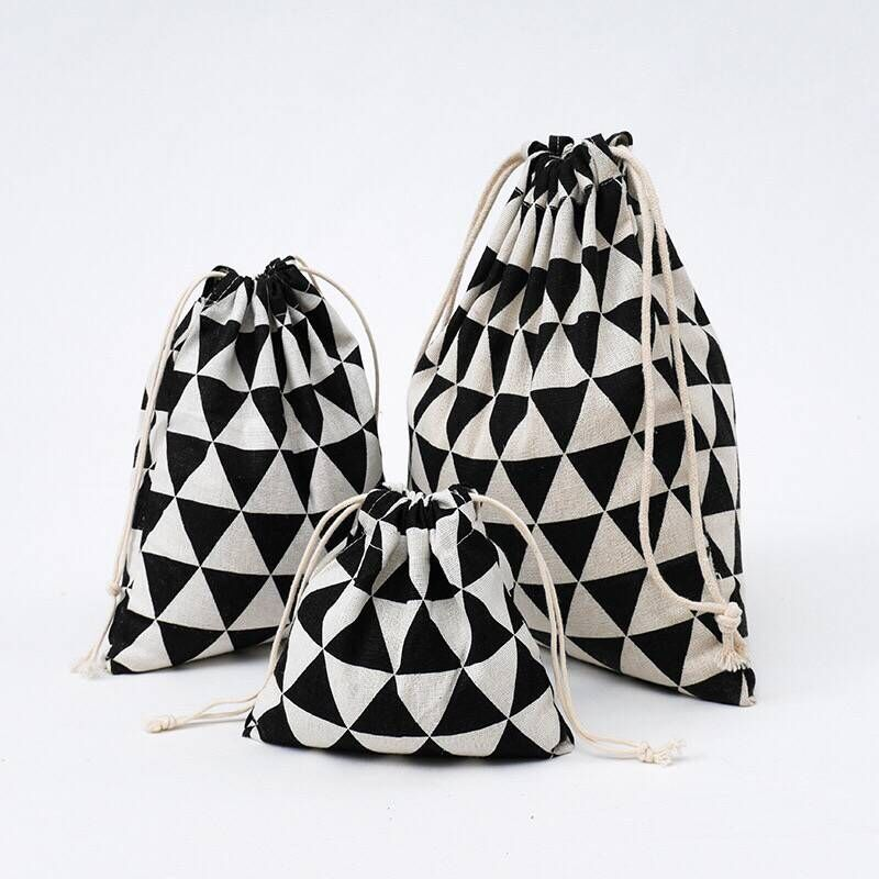 YILE Black Geometry Cotton Linen Drawstring Coin Key Phone Pouch Organized Bag 8614c
