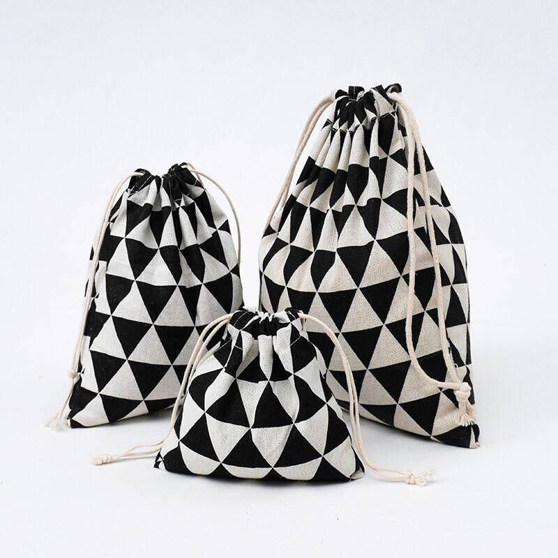 YILE Black Geometry Cotton Linen Drawstring Coin Key Phone Pouch Organized Bag 8614c