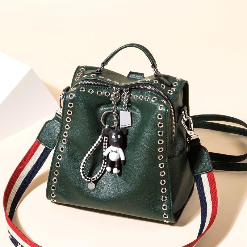 2018 New Female Leather Backpack Woman Fashion Shoulder Bag Rivet Design Leisure Student Backpack Lady Large
