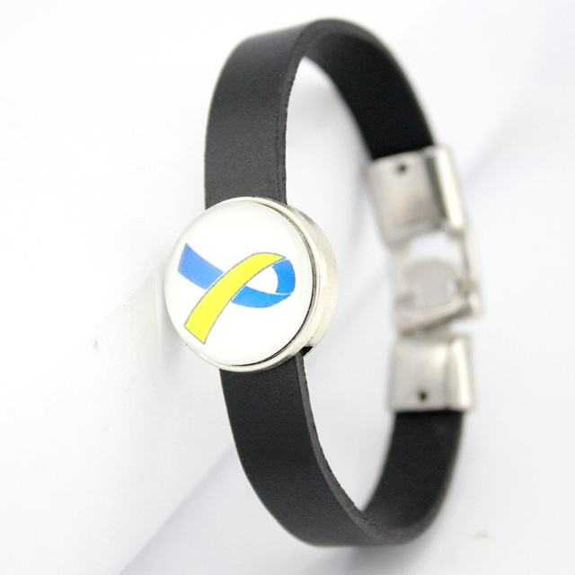 Down Syndrome Awareness T Cancer Cure Childhood Ribbon Erfly Leather Bracelets Women Men Boy