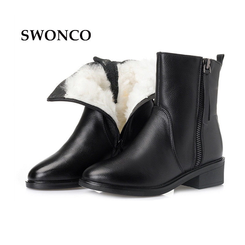 SWONCO For -26 Degree Womens Winter Boots Genuine Leather Thick Wool Warm Ladies Boot Leather Women Boots Winter Warm ShoesSWONCO For -26 Degree Womens Winter Boots Genuine Leather Thick Wool Warm Ladies Boot Leather Women Boots Winter Warm Shoes