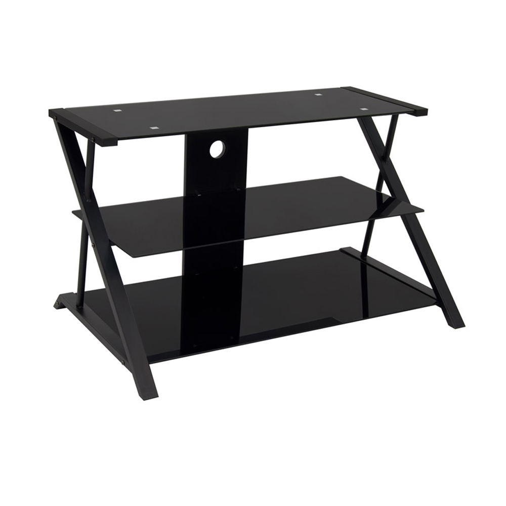 Offex Home Office Artesia 38 TV Stand - Black/Black Glass