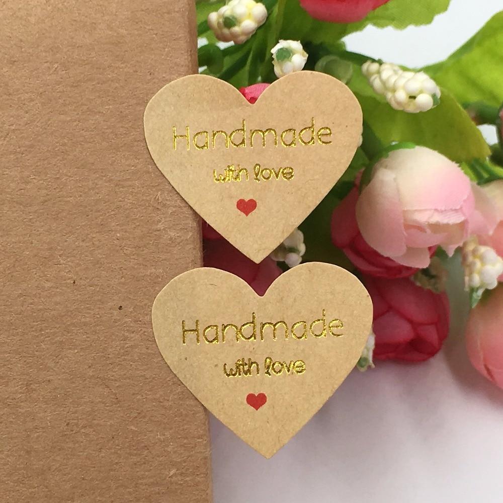 e4c06a82ec3a 500 unids Kraft sticker labels amor oro sellado Adhesivos hecho a mano con  amor regalo de boda etiquetas autoadhesivas etiquetas del embalaje en  Partido DIY ...