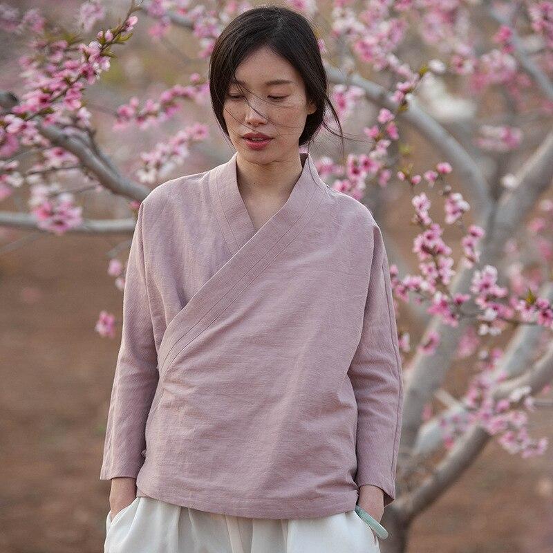 Nouveau été col montant à manches longues hauts couleur unie Style chinois plaque boucle cravate Vintage femmes lâche chemises