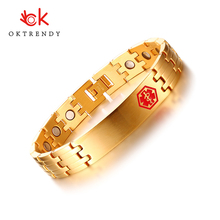 Oktrendy Health Care Magnetic Energy Stainless Steel Male Jewelry Free Engraving 12mm Medical Alert ID Bracelet for Men Bangle