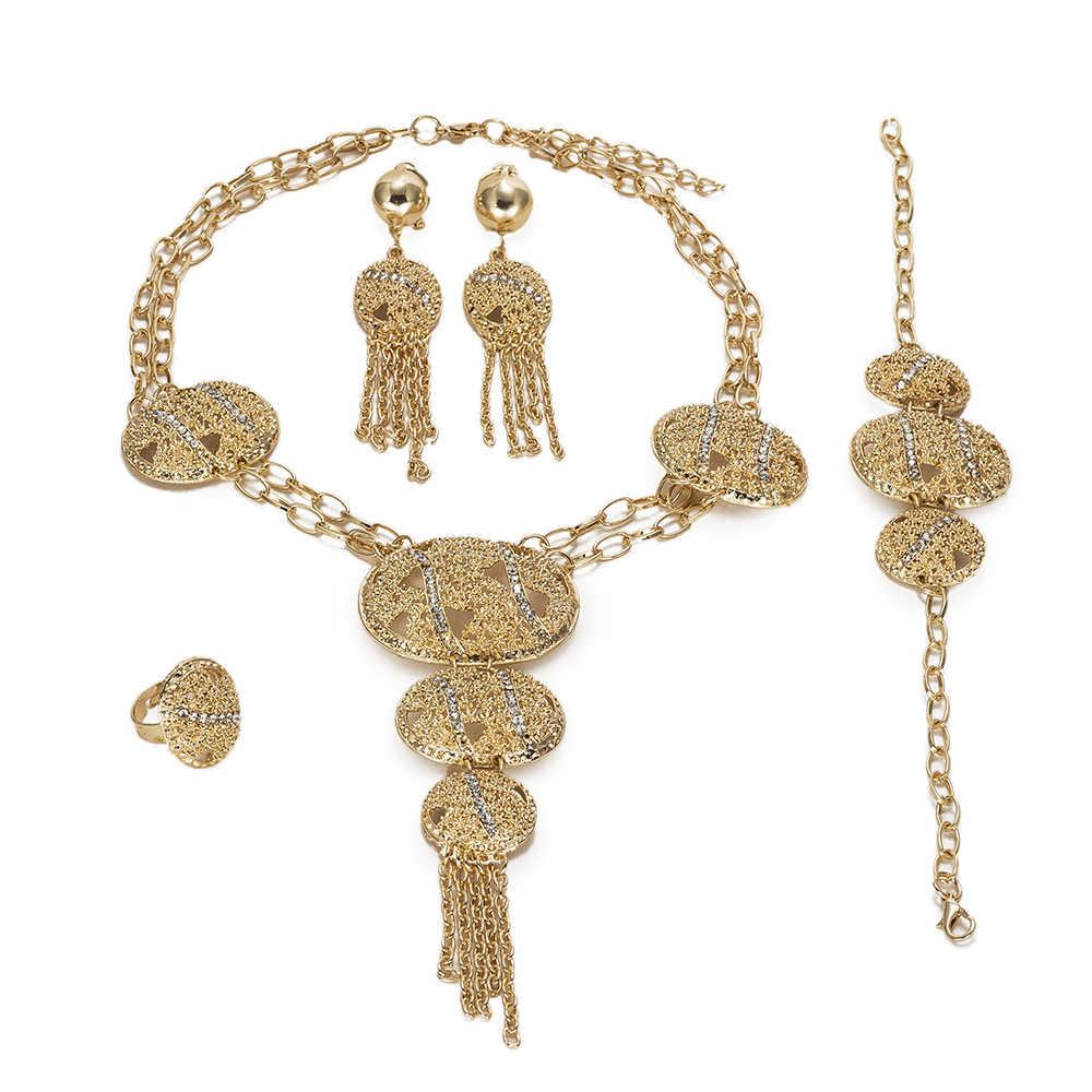 MUKUN Mode frauen schmuck set Nigerian braut Hochzeit Afrikanische perlen Schmuck Sets Kristall Design Dubai Gold Farbe schmuck set