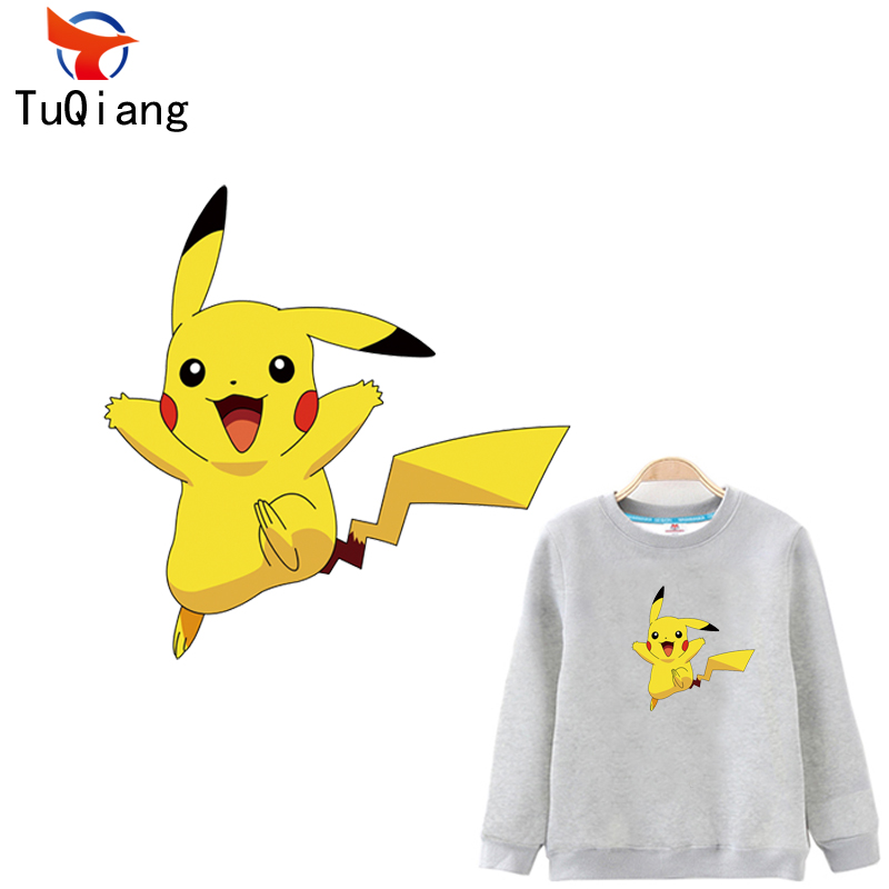 Pokemon go Lovely Pikachu Iron On A-level Patches Heat Transfer Pyrography For DIY Clothes Bags Decoration Printing 18*18CM ...